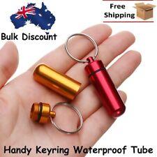 Pill Container Shape Waterproof Storage Medicine Keychain Keyring Tube Aluminium
