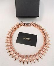 MAWI Rose Gold Spike & swarovski Crystal Necklace with Box, New & Authentic