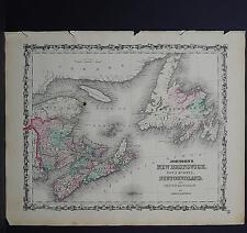Antique Map Johnson's 1862 Single Page New Brunswick, Nova Scotia, others M10#19
