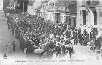 CPA 18 BOURGES FESTIVAL MILITAIRE 1908 LE DEFILE HARMONIE MUNICIPALE