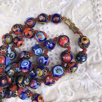 """Vtg Art Deco Millefiori Long Blue Venetian Murano Glass Beaded Necklace 56"""""""