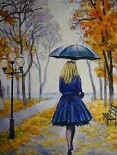 Watercolor Painting Woman Umbrella Rain City Street Park Autumn ACEO Art