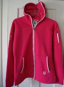 FOOT JOY Women's M *runs small* Hot Pink & White Golf Jacket DE Club Logo - EUC!