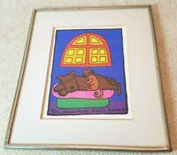 """Chilean Artist Beatriz Aurora 1986 Print durami in do 19/900 Cat Dog 5"""" x 6"""""""