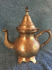 Vintage Etched Brass Tea Kettle