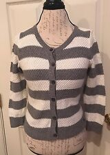 Abercrombie & Fitch Cardigan Women's M Gray Ivory Stripe Button Front 3/4 Sleeve