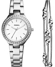 NWT FOSSIL BLANE THREE-HAND STAINLESS STEEL WATCH & JEWELRY GIFT SET ES4336SET