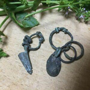 Viking ancient 2  pendants amulets ornament artifacts  authentic 7-8 century AD