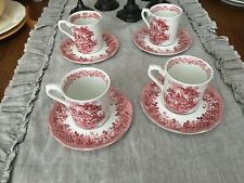 ROMANTIC ENGLAND RED TRANSFERWARE 4 CUPS & SAUCERS VINTAGE
