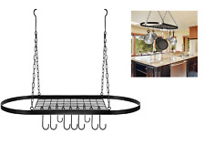 Decorative Oval Mounted Storage With Hooks Pot and Pan Rack for Ceiling Ha