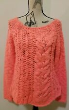 Free People Sweater Chunky Cable Knit Sz Medium Coral Salmon Pink Mohair Blend