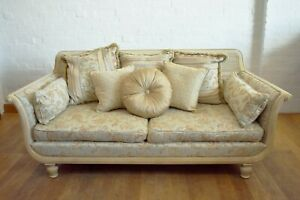 French country bergere cane scroll arm sofa settee