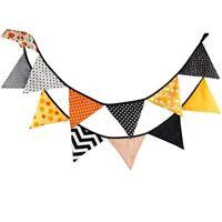 Halloween Vintage Cotton Fabric Garlands Feet 12 Flags Rustic Hanging Decor M4G5