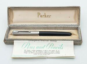 PARKER 51 AEROMETRIC 1954 CLASSIC BLACK 14K MEDIUM OBLIQUE NIB CASE FULLY TESTED