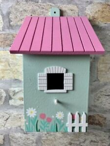Bird House Nesting Box - Pretty mint green cottage, flowers fence & pink roof
