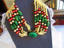 Kenneth Jay Lane Necklace, Vintage KJL Necklace , Oriental ,Carved Jade Coral Pe