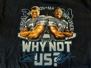 Seattle Seahawks,Russel Wilson,Marshawn Lynch,Why Not Us?,Men,Large,Blue,T-Shirt