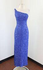 Vtg Scala Blue Silk Beaded Sequin One Shoulder Evening Formal Dress Size XS