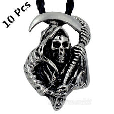 Wholesale 10 Pcs Grim Reaper Skull Men Boy Pewter Biker Pendant With Necklace