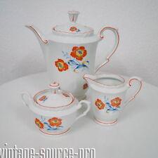Mitterteich Porzellan Kaffeekern Kanne Milch Zucker florales Dekor 30er Jahre