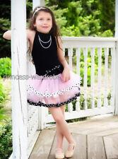 Black Pink Polka Dots Ballet Leotard Tutu Pageant 2-7Y