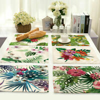 Flower Tropical Insulation Cotton Linen Placemat Dining Table Mat Home Kitchen
