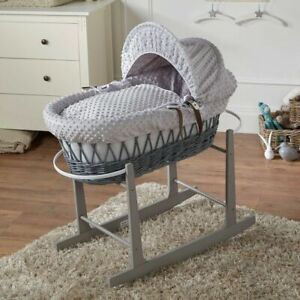 Grey Dimple Grey Wicker Moses Basket And Grey Rocking Stand