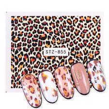 Nail Art Water Decals Stickers Transfers Brown Leopard Animal Print Spots STZ855