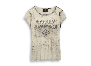 Harley Davidson Ladies Cross Logo Short Sleeve T-Shirt 96822-19VW