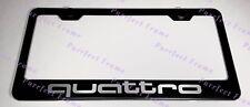 Audi Quattro Sport Black Stainless Steel License Plate Frame W/ Bolt Caps