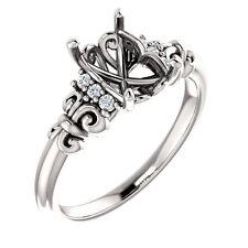White Gold Semi Mount Engagement Wedding Ring Emerald Diamond Vintage Antique