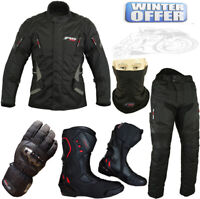 BLACK SUIT COMBO MENS CE MOTORBIKE MOTORCYCLE JACKET/COAT TROUSERS BOOTS GLOVES