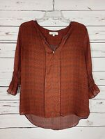 Umgee Boutique Women's M Medium Orange 3/4 Sleeves Cute Fall Top Shirt Blouse