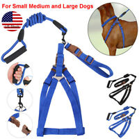 Small Medium Large Pet Nylon Rope Collar Harness Dog Puppy Walking Lead Leash US