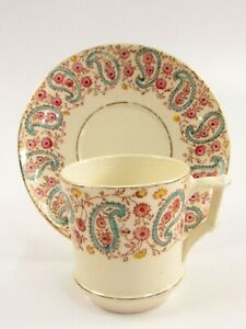 Antique French Porcelain Opaque de Gien Floral Paisley Cup and Saucer I010