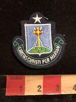 Vtg Quebec Canada School CARITAS CHRISTI PER MARIAM Patch 83YC