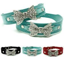 Bling Crystal Rhinestone Bow Tie Suede Leather Pet Cat Puppy Dog Collar S M L