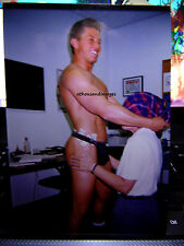 Vtg 90s Photo/Sexy Shirtless Stripper w/Cash In G-String & Blindfolded Woman E21