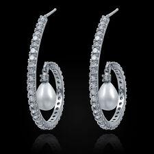 Cubic Zirconia Pearl Dangle Hoop CZ  Earrings  D2