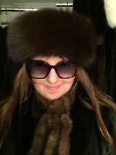 BRAND NEW EXTRA WIDE (3.5 INCHES) WOMAN'S LUXURIOUS BROWN FOX HEADBAND $380.00