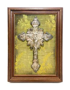 Italian Silver Embossed Relief Jesus on the Crucifix Cross, 1850 Naples
