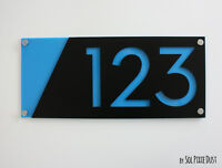 Modern House Numbers, Black with Blue Acrylic -  Sign Plaque - Door Number