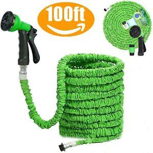Heavy Duty 100FT Green Expandable Garden Hose Flexible Pipe Expanding Spray Gun