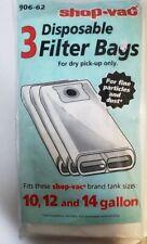 ShopVac 3 Disposable Filter Bags #906-62 10-14 Gallon