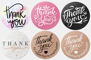 x100 Thank You Stickers For Your Purchase Business Labels Round Heart Wedding