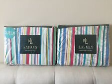 NWT RALPH LAUREN HARBOR VIEW ~ Striped Flat & Fitted Sheet ~ Turquoise