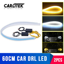 2X 60CM Slim Amber/White Sequential Flexible LED DRL Turn Signal Strip Headlight