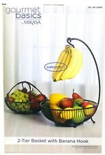 Mikasa 2 Tier Steel Wire Fruit Vegetable Basket Bowl Kitchen with Banana Hook