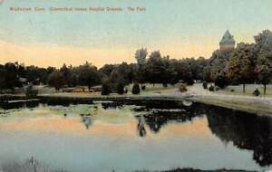 MIDDLETOWN, CT, STATE INSANE HOSPITAL GROUNDS, THE POND, LEIGHTON PUB used 1910