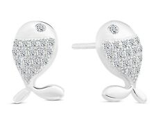 Sterling Silver Whale Stud Earrings with Cubic Zirconia